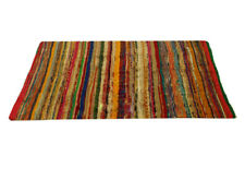 LARGE CHINDI RAG RUG HAND LOOMED INDIAN FAIR TRADE RECYCLED WOVEN MAT