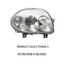 COTE DROIT PASSAGER FEUX PHARE AVANT DOUBLE OPTIQUE RENAULT CLIO 2 PHASE 1