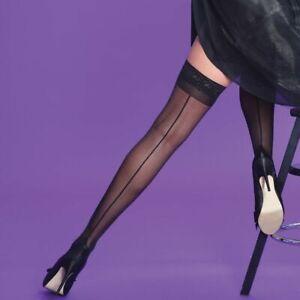 Quality Hold Ups UK Nude Black Cuban Heel Sheer 15 Denier Lace Top Nude Seamer