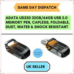 32GB/64GB ADATA UD230 USB Capless, Foldable, Water & Shock Resistant PEN DRIVE