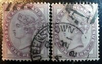 Beautiful Queenstown Pair of 1881 1901 Lilac Queen Victoria Stamps J207