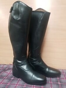 ** NEW HARRY HALL LONG  BLACK LEATHER SHOW BOOTS LADIES SIZE 6 RIDING  SHOWING