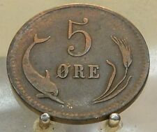1875 H Denmark Bronze 5 Ore, Old World Bronze Coin