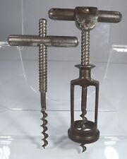 Antique Victorian Roll-Over Locking Collar Metal Corkscrew, Plus One Other