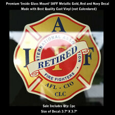 IAFF Retired Firefighter Inside Window Mount Decal Gold Metallic Red Blue 0266