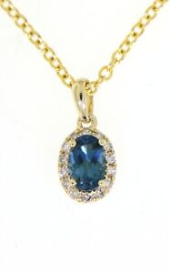 London Blue Topaz 0.57CT 14K Yellow Gold Real Halo Diamond Oval Pendant Jewelry