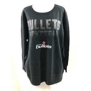 NBA Washington Bullets Womens Sweatshirt Rhinestones Black Size L