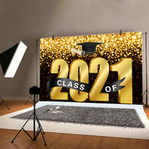 Class of 2021 Graduation Backdrop Congrats Party Gold Photo Background Banner