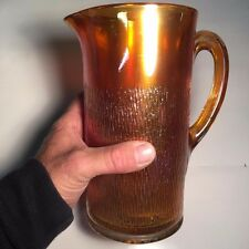 NICE! Vintage Imperial Glass Ohio Tree Bark Marigold Carnival Glass Pitcher 48oz