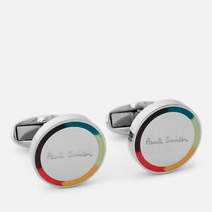 NWT $150 Paul Smith Artist Stripe Edge Round Cufflinks In Silver. Yours For?