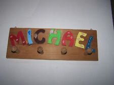 "HandMade 15"" Wooden Hat & Coat Rack With wooden 4 pegs MICHAEL boys room"