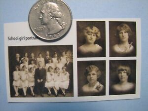 Dollhouse Miniatures Pictures of School Girl Portraits from The 20's or 30's