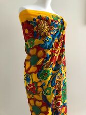 CHANEL CAMELLIA COTTON PRINT PAREO SHAWL SARONG 154x140CM YELLOW, RED, BLUE NEW,