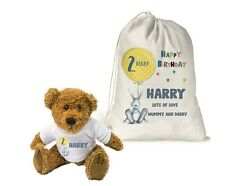 Personalised Teddy Bear Gift Bag Boys 1st Birthday 2nd 3rd 4th Son Grandson Gift