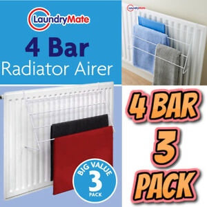 3 Pack of 4 Bar Radiator Airer Dryer Clothes Drying Rack Rail Towel Holder Hang