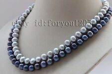 Double Natural 10mm Gray black Round Pearl Necklace 925silver clasp #f2432!