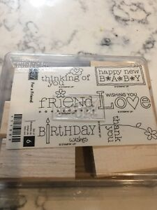 STAMPIN UP For A Friend, Set of 6, Birthday Wishes Love Baby Thank You, NEW