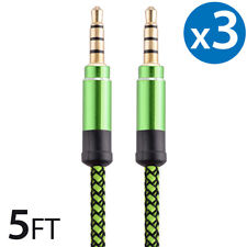 3x 3.5mm Braided Male to Male Stereo Audio AUX Cable Cord for PC iPod CAR iPhone