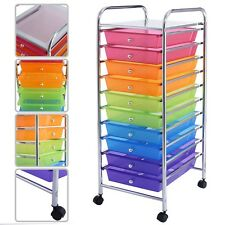 10 Drawer Rolling Storage Cart Scrapbook Paper Organizer Office Home School