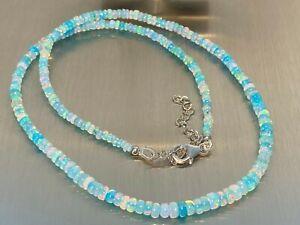 Äthiopischer Opal paraiba farben Kette Collier 925 Silber 45+5 cm /ca 35 Carat