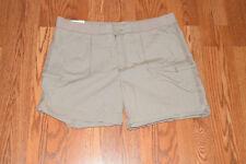NWT Womens KHAKIS & CO Classic Khaki Cotton Cuffed Pull On Short Shorts 16