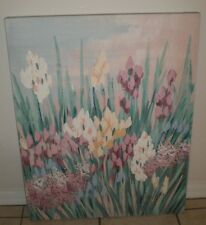 LEE REYNOLDS Mid Century Modern Oil on Canvas TULIPS IRIS Roses Flowers  24x30