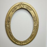 "Antique Oval Gold Gesso Gilt Photo Frame Ornate Wood Chicago Portrait 14"" x 20"""