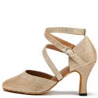 Scarpe da ballo oro a punta chiusa sandali beige in tessuto donna salsa liscio