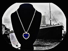 Titanic..Movie Replica - White Gold Blue Sapphire Crystal Necklace - Gift Boxed