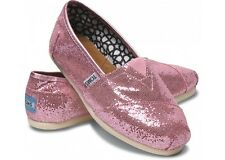 New! TOMS Classic Pink GLITTER Slip On Shoes Loafers Women's Sz 5 **NWOB**