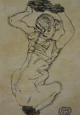 Fine Expressive art, unique drawing – woman, signed Egon Schiele, marked