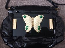 4da4501915 £675 vintage Jimmy Choo Black patent leather butterfly clutch cross body bag