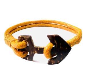 Coconut Shell Anchor Bracelet  Beads Bangle Natural Band Stretch Handmade Craft