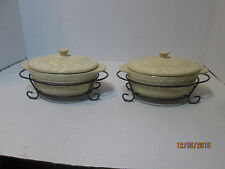 LOT OF 2 TEMP-TATION OVENWARE CARVED OLD WORLD - 9OZ BY TORA