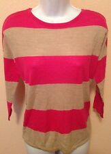NEW The Limited Pink Grey Stripe 3/4 Sleeve Stretch Dolman Sweater Size XS