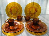 """Indiana Colony Glass 4 Amber Kings Crown Snack Luncheon 10"""" Plate 8 oz Cup Sets"""