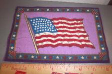 Vintage 1910-1915 Cigar Box Felt silk flag, Usa Flag, 8 x 5 inch, purple backing