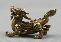 "2.4"" Curio China Bronze Animal Kylin Chi-lin Qilin Qi Lin Small Statue 40g 麒麟"