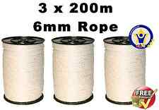 ELECTRIC FENCE ROPE 3 x 200 M 6mm White Poly Fencing Horse Paddock tape 600m