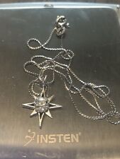 ~ Sweet Little 14kt White Gold Vintage Single Starburst Pendant Necklace~
