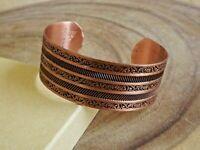 """Pure Copper Ribbed Design Bracelet Solid Copper Adjustable 1"""" Wide Cuff Bracelet"""