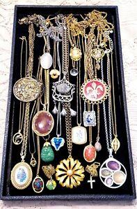 24 Piece Vintage and Modern Chains w/ Pendants Necklace Lot - Sarah Cov., Avon