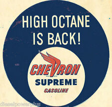 Vintage Replica Tin Metal Sign chevron supreme gasoline octane wings round 10078
