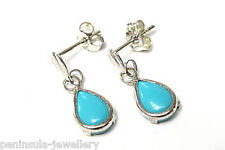 9ct White Gold Turquoise Teardrop Dangly Earrings Gift Boxed Made in UK