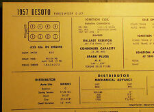 1957 DeSoto Firesweep S-27 325 CI V8 SUN Tune Up Chart Excellent Condition!