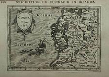 IRELAND. MINIATURE MAP OF CONNATIA BY PETRUS BERTIUS, AMSTERDAM CIRCA 1618