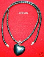 "Natural Hematite Necklace w/ Pendant 18"" Medium HEART"