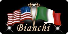 "Italian USA Flags Decal Bumper Sticker 3.5"" x 6"" Gifts Text Men Ladies Black"