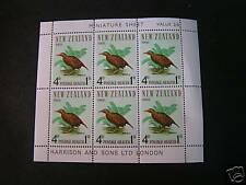 NEW ZEALAND, SCOTT # B72a, 4p.+1p VAL MINI SHEET OF 6 WEKA BIRD 1966 ISSUE MVLH