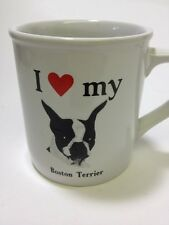 I Love My Boston Terrier Mug Coffee Cup Strand Papel Dog Pet Heart Black White